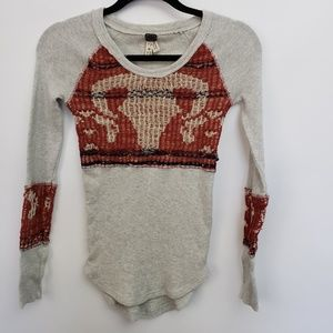 Free People Cotton Thermal Gray Red Ram Knit XS